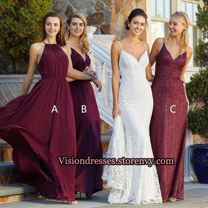 ca495b1281d5 Mismatched Burgundy Custom Bridesmaid Dresses Online, Long Chiffon  Bridesmaid Dresses, VB0118 on Storenvy
