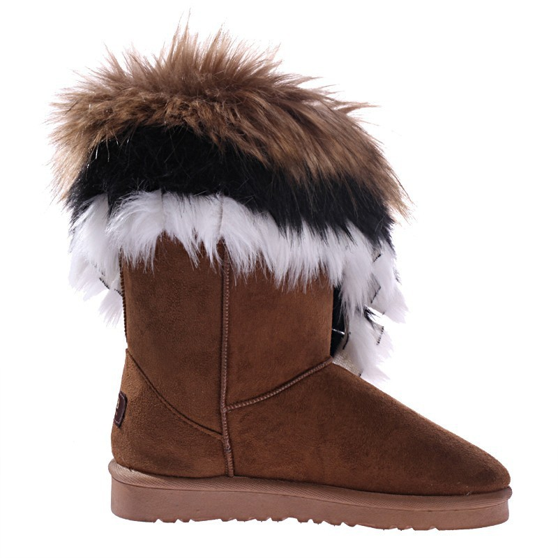 winter warm high long brown snow boots artificial fox rabbit fur ...