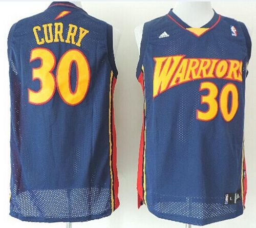 d0fc90227 Warriors  30 Stephen Curry Navy Blue Throwback Stitched NBA ...