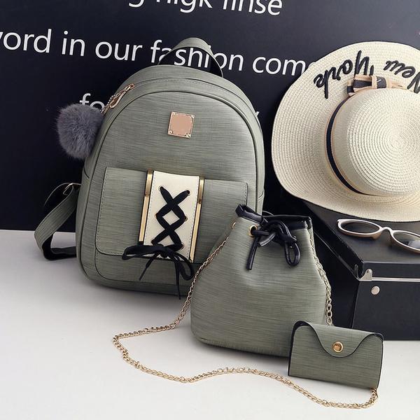 68bfb288ce 3Pcs Set Women Backpack Set pu leather female fashion casual ...