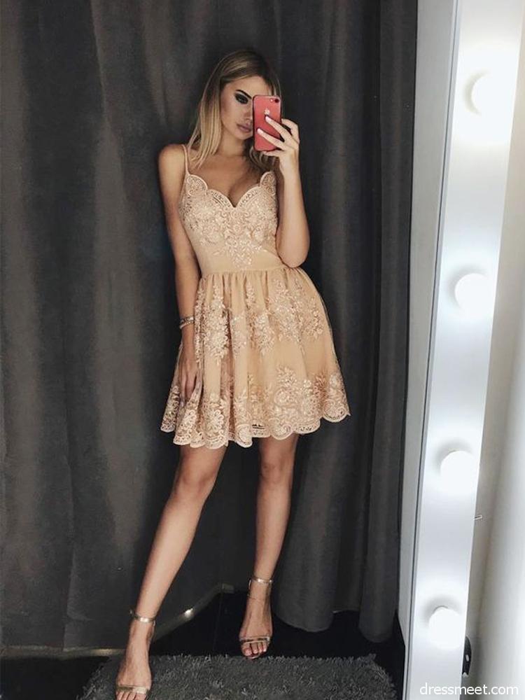 bd8b6a51d0 Cute A-Line Spaghetti Straps Champagne Lace Homecoming Dress