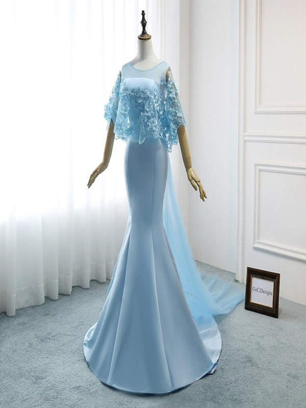 Mermaid Ice Blue Wedding Dresses Tulle Satin Bridal Gown Butterfly Lace Cape Evening Dresses Wd037 From Veryprom