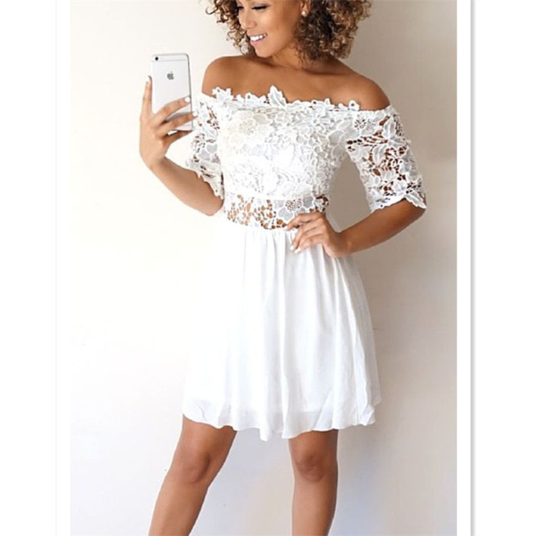 409fdbf35c White Short Sleeves A-Line Homecoming Dress