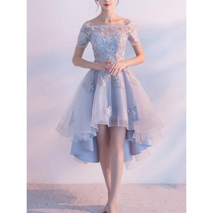 15fb0041fb Dreamlike Light Blue Lace Hi-Lo Homecoming Dresses