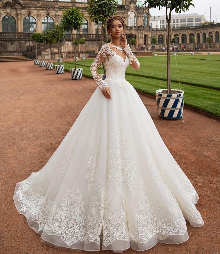 Gorgeous White Ball Gown Wedding Dress 2018 See Through