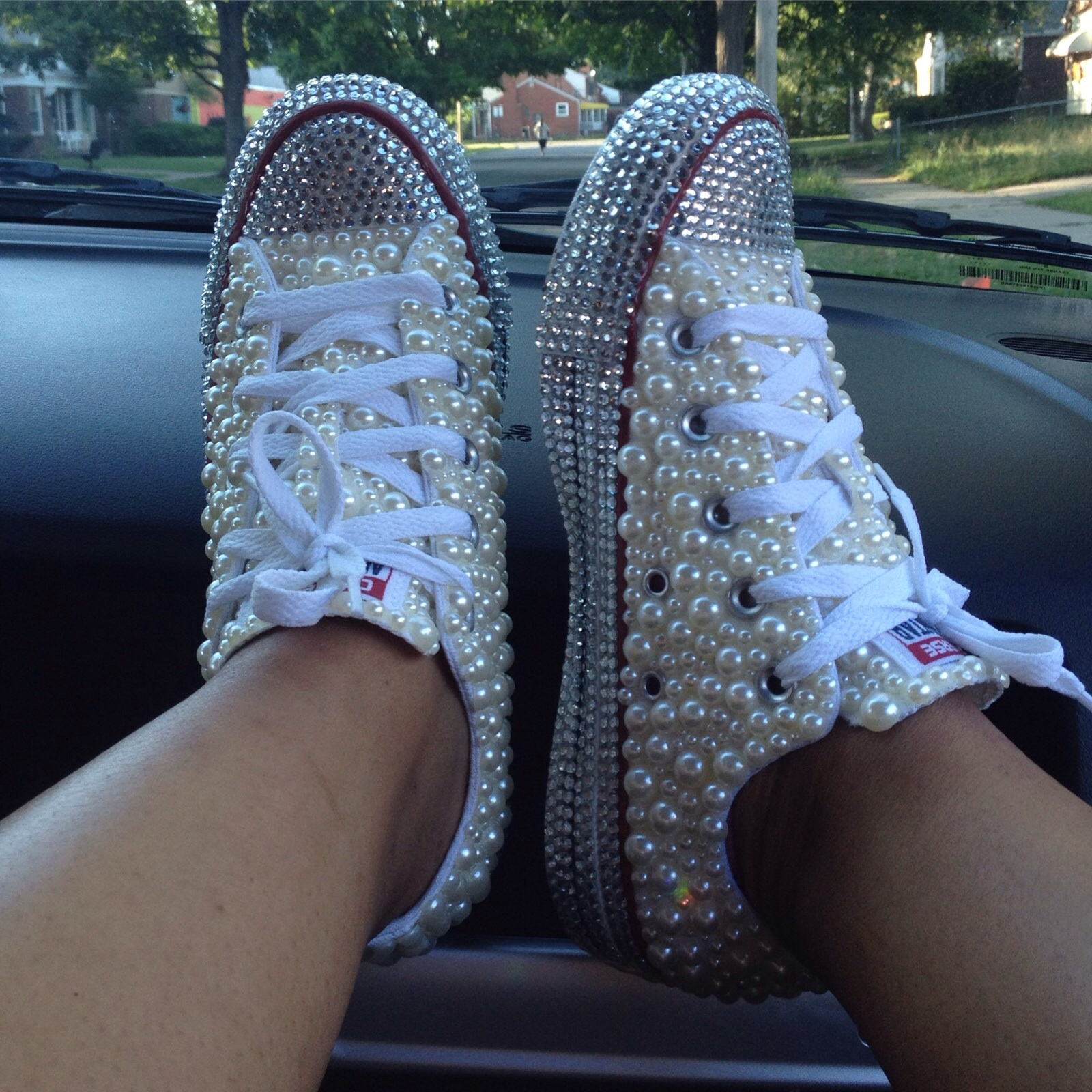 e9782f810c8e Custom Blinged Out Mother of Pearl Converse · THE BLING QUEEN ...