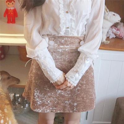 db8c4c754729d8 The old time vintage velvet babydoll mini skirt