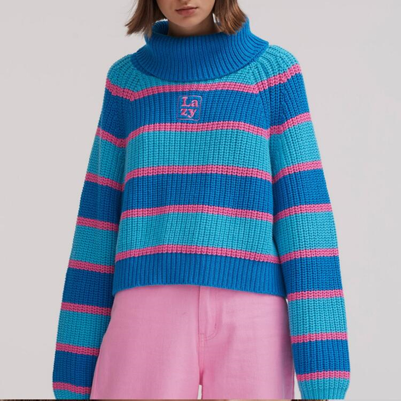2d11f5b1a Lazy oaf Stripey Roll Neck Jumper with Embroidered Chunky Knit Pullover  Sweater For Women from Ohya Fashion