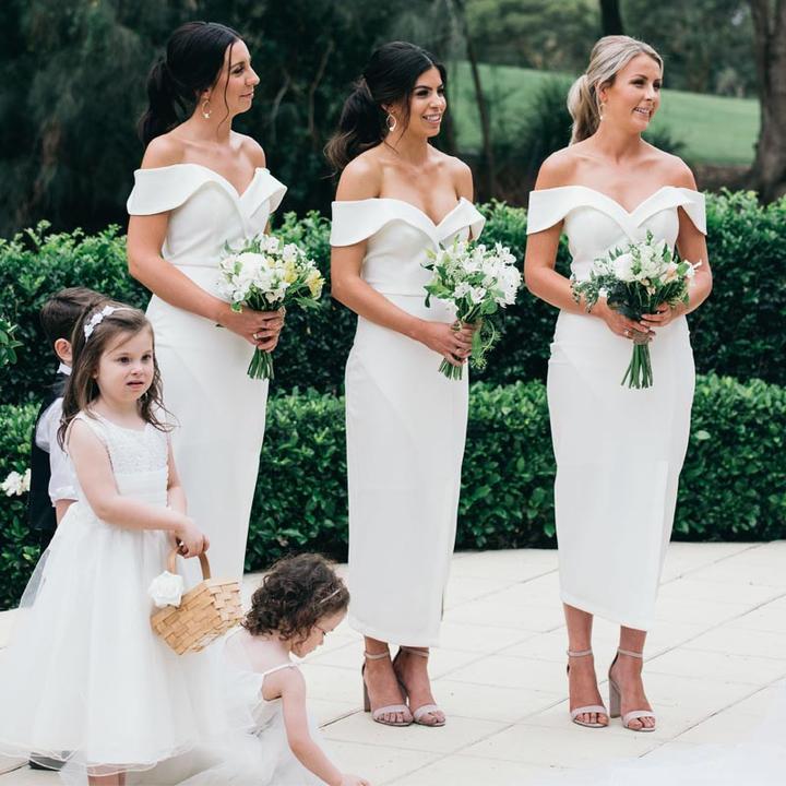 Ivory Bridesmaid Dresses | Ivory Off Shoulder Bridesmaid Dresses Sheath Bridesmaid Dresses