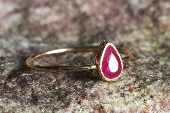 Pink Ruby Engagement Ring Handcrafted In 14k Yellow Gold July
