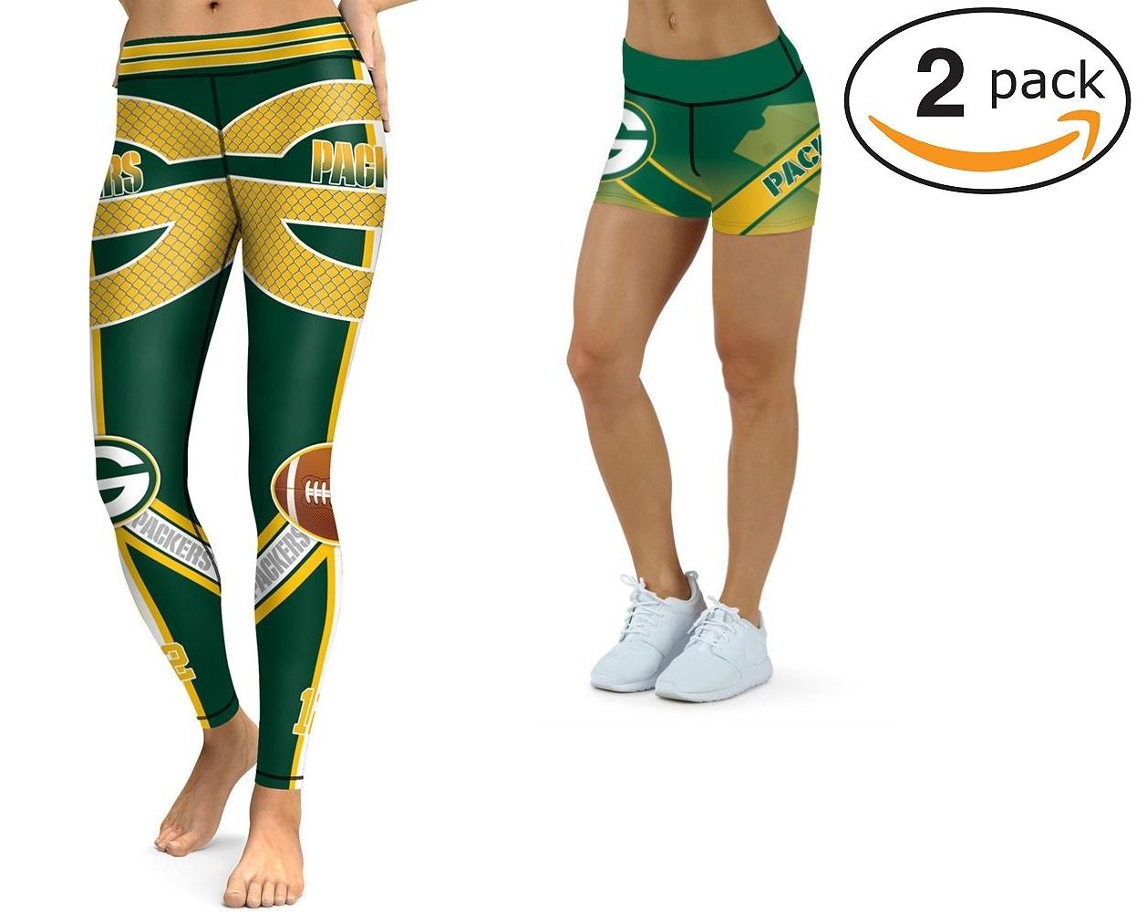 28b3819ebfe4e Green Bay Packers NFL 2018 Two Packs Leggings & Mini Shorts Womens ...