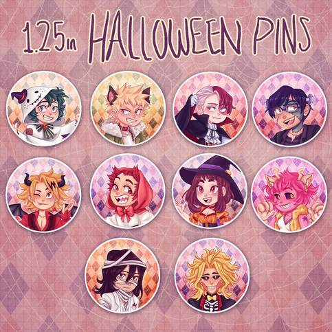 My Hero Academia Halloween Button Pins On Storenvy