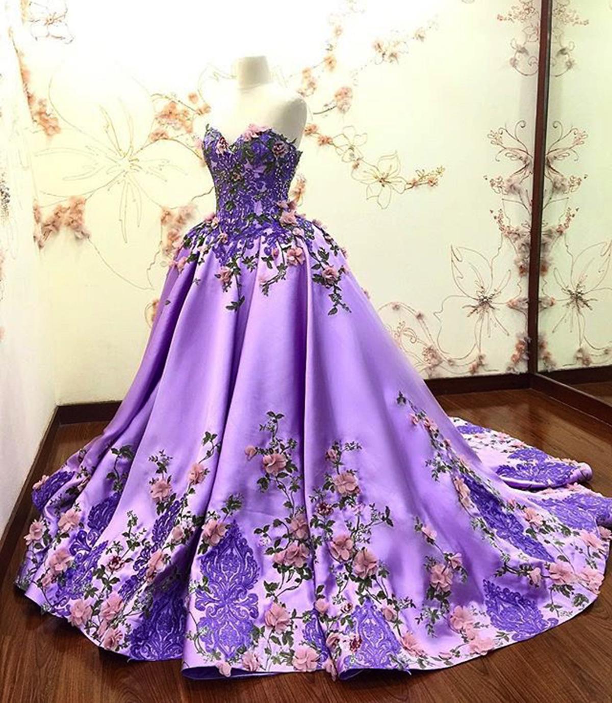 مدل لباس مجلسی بلند با رنگ بنفش