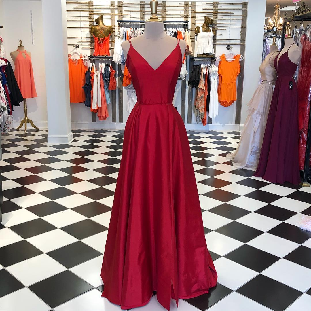 Double Straps Red Prom Dress Long from Ladyboutiques