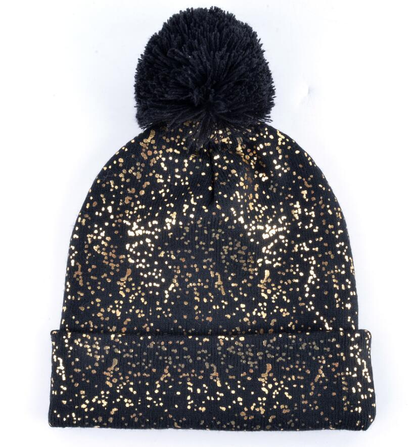 db94baf93b8 2018 Autumn And Winter Beanies Women Fashion Sequins Knitted Wool Hat Femal  Flashing Skullies Girls Beanie