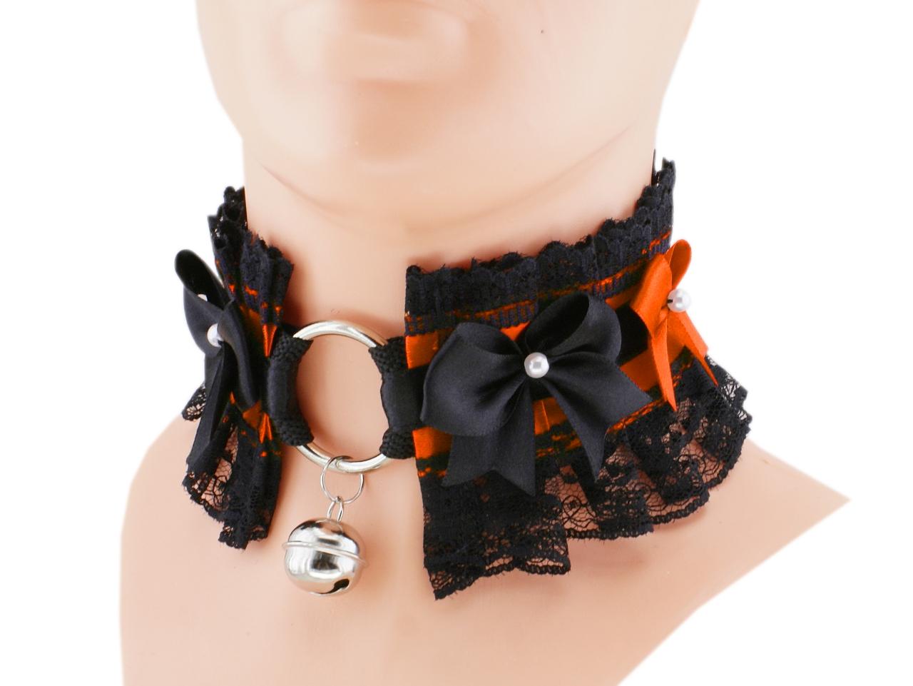 orange ddlg collar black collar Kitten play collar bdsm