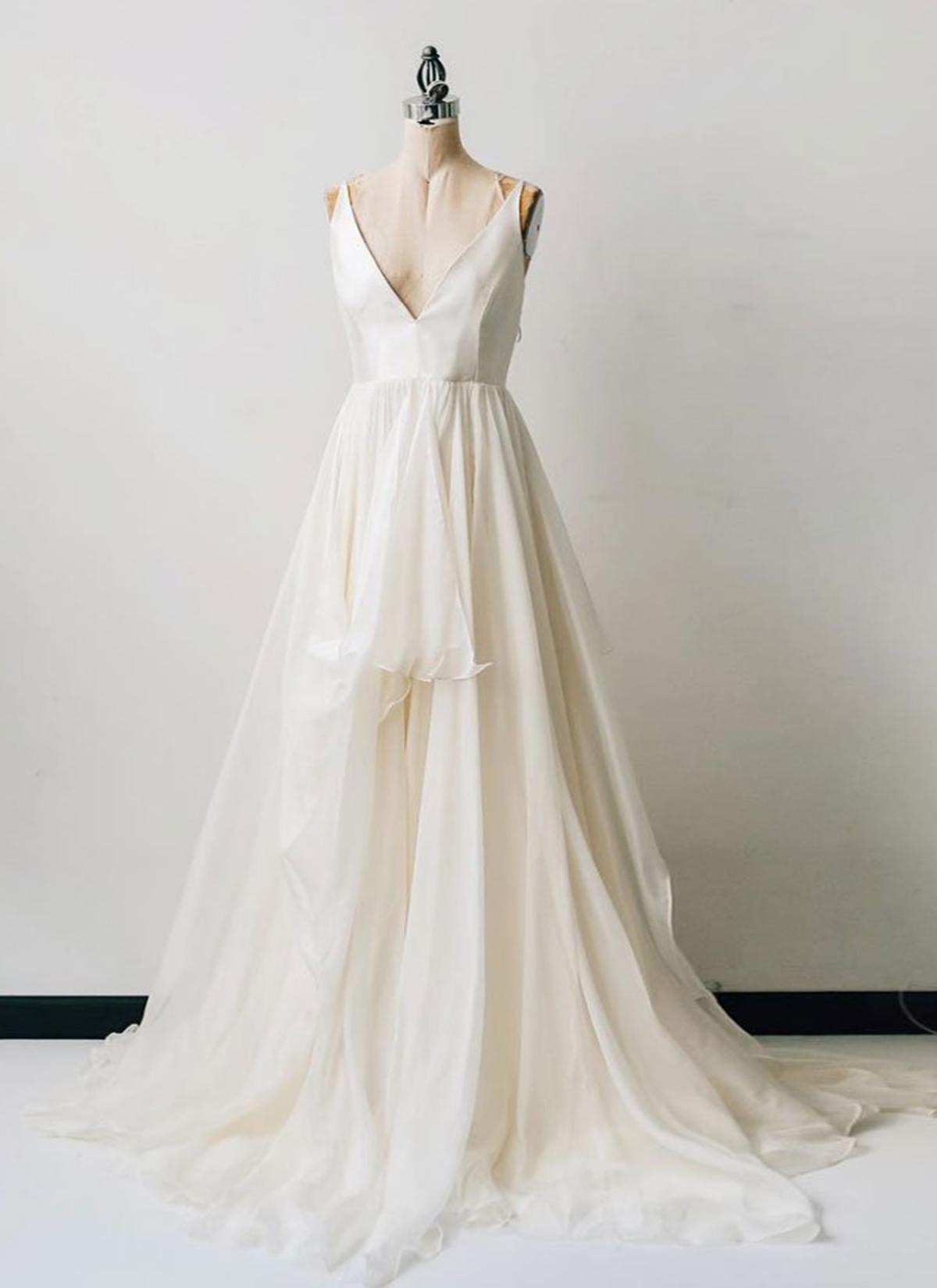 644c9adce025 Spring white chiffon v neck long prom dress, white ruffles formal dress