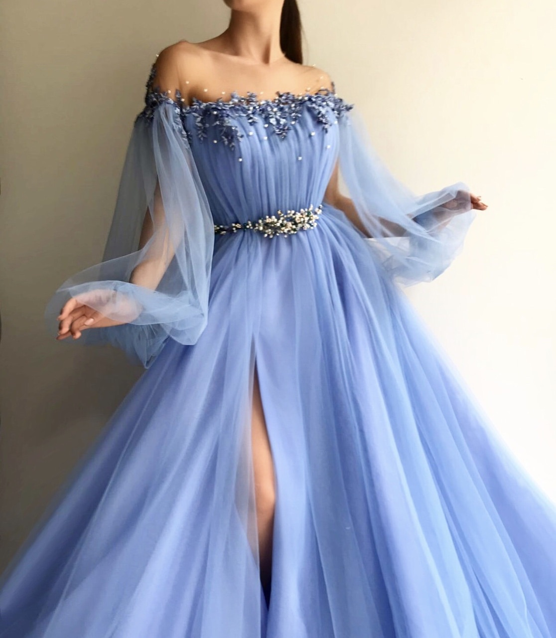 Dreamlike New Style Sky Blue Prom Dress Off The Shoulder Long Sleeves Evening Dress Appliques Bead Party Dress From Sofiedress