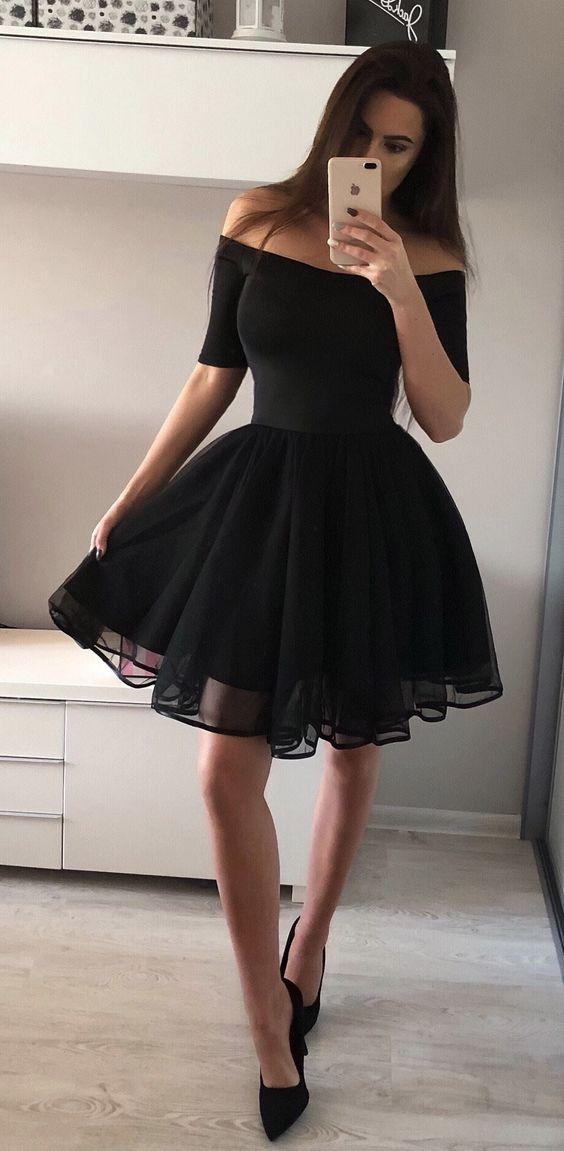 94443d6e14a6 Long Sleeve Homecoming Dresses ,Off the Shoulder Short Prom Dress ,Little Black  Evening Dress on Storenvy