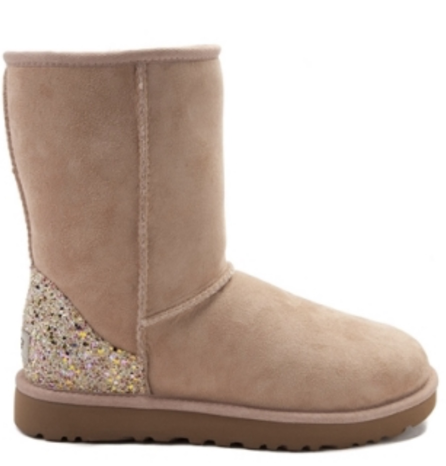 c6fbcbfdee1 Womens UGG® Classic Short II Custom Glitter Boot Light Sand