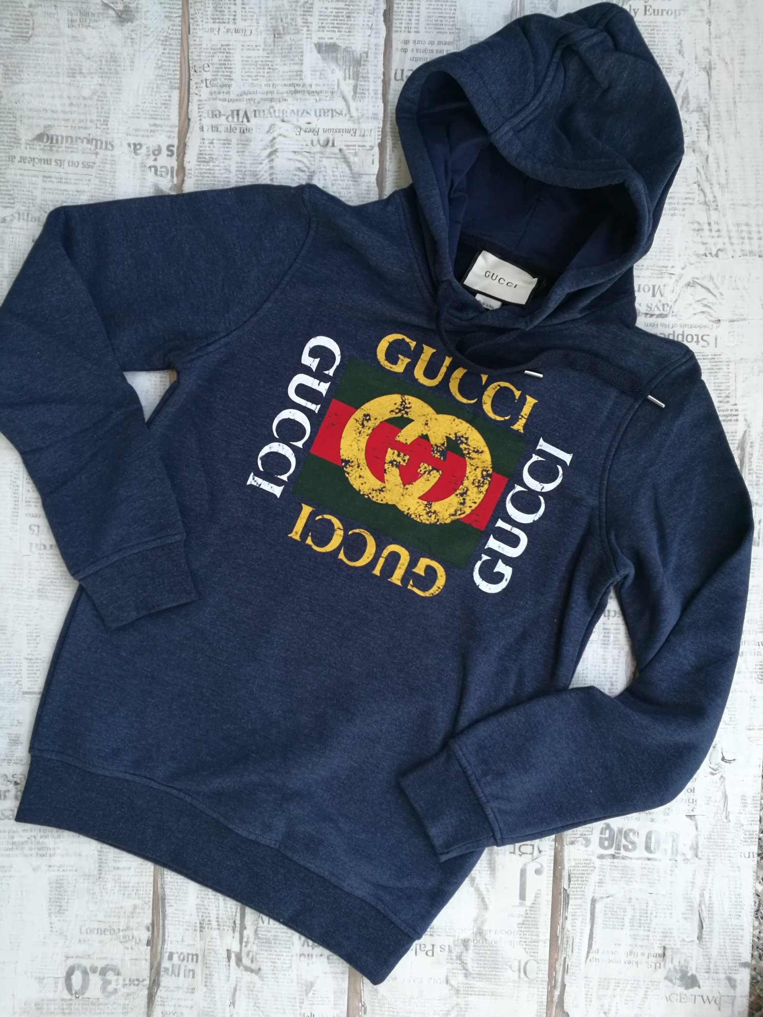 913fee27 Gucci Dark Blue Cotton Hooded with Gucci Logo Men's Sweatshirt on ...