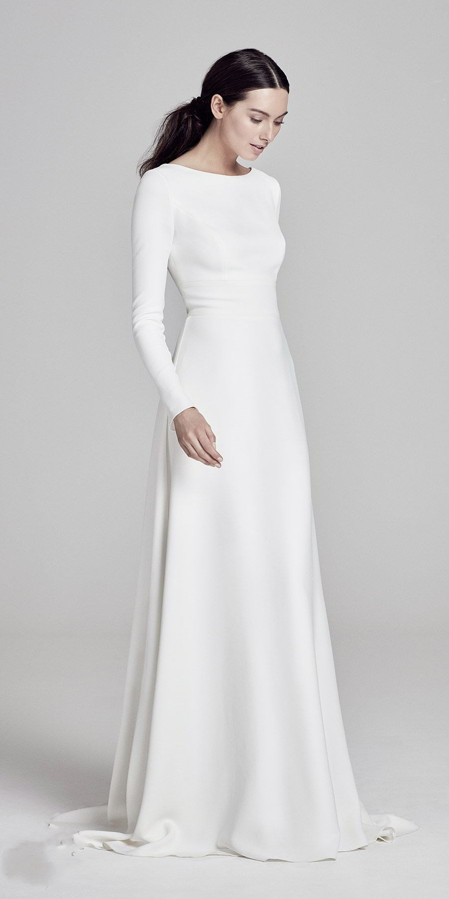 Simple Elegant Satin Floor Length Wedding Dress Round Neck Long Sleeves Bridal Dress From Show Fashion