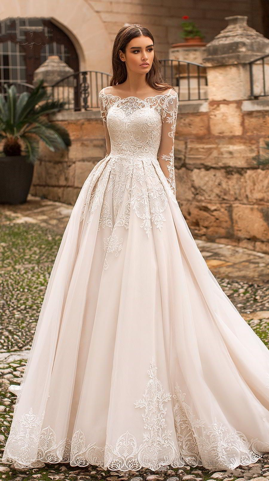 ad83fc060c6 White Tulle Long Sleeves Wedding Dress With Appliques