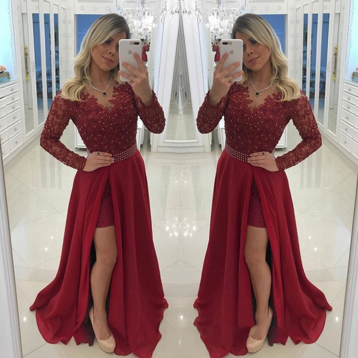 fa16a8ae92 Hot Burgundy A-Line Prom Dress Long Sleeves Lace Appliques Beaded Formal  Evening Dresses High