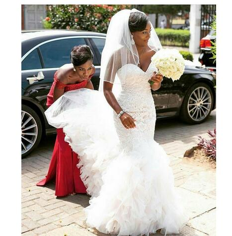 888bfdf634 Gorgeous South African Nigerian 2019 Luxury Lace Mermaid Wedding Dresses  Sweetheart Appliques Backless Ruffles Train Bridal Gown Custom Made from ...