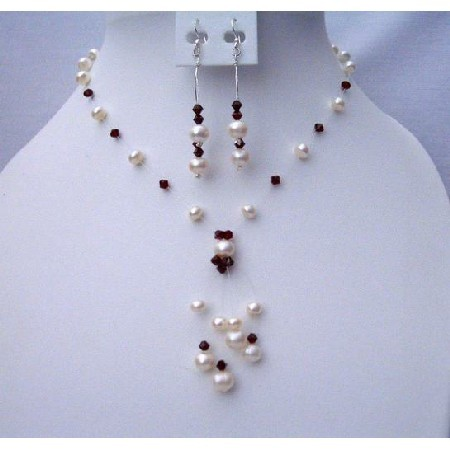 Brd371 Handmade Swarovski Crystals Necklace Set Made Of