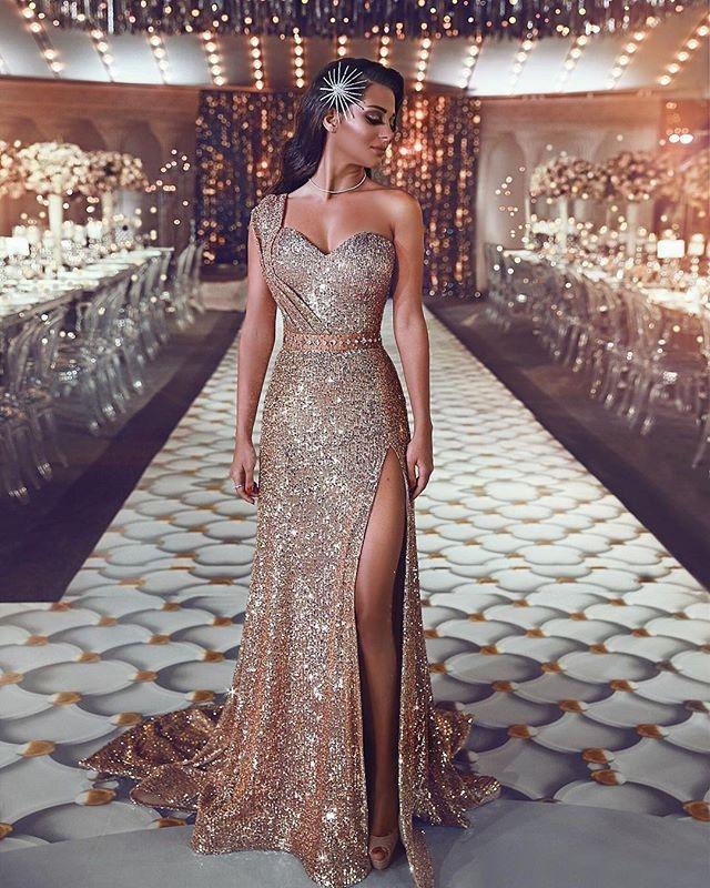d113a2d83a8 Shiny Gold Sequin One-Shoulder High Slit Prom Dresses on Storenvy
