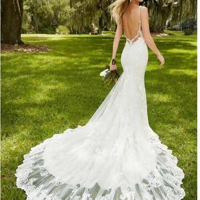 ae46459882 Elegant tulle spaghetti straps neckline mermaid wedding dresses with lace  appliques