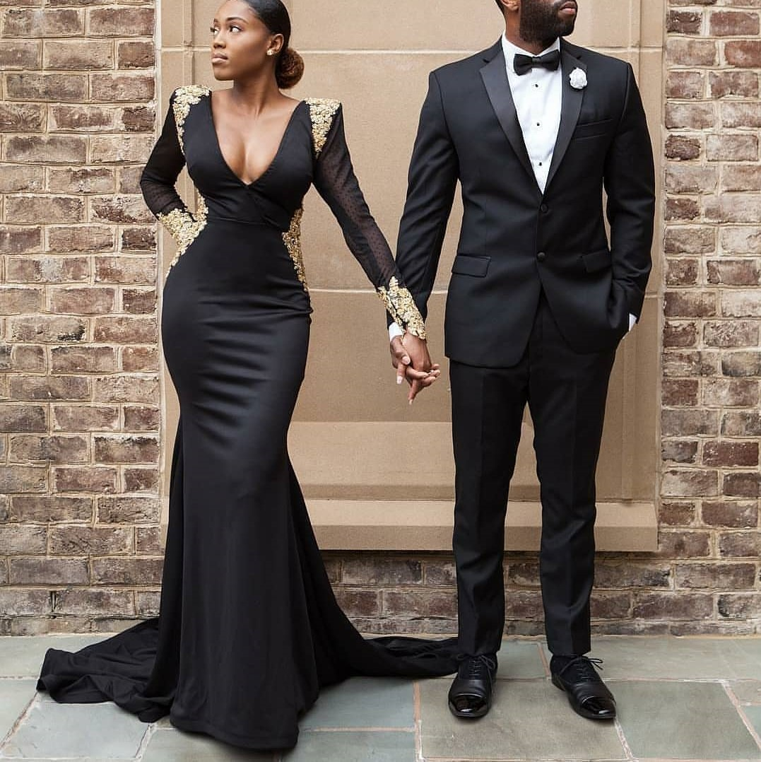 9c418abcb1496 Gorgeous Black Satin Prom Dress Long Sleeves Gold Appliques Sexy Deep  V-Neck Sweep Train Evening Dresses Formal Long Party Gown on Storenvy