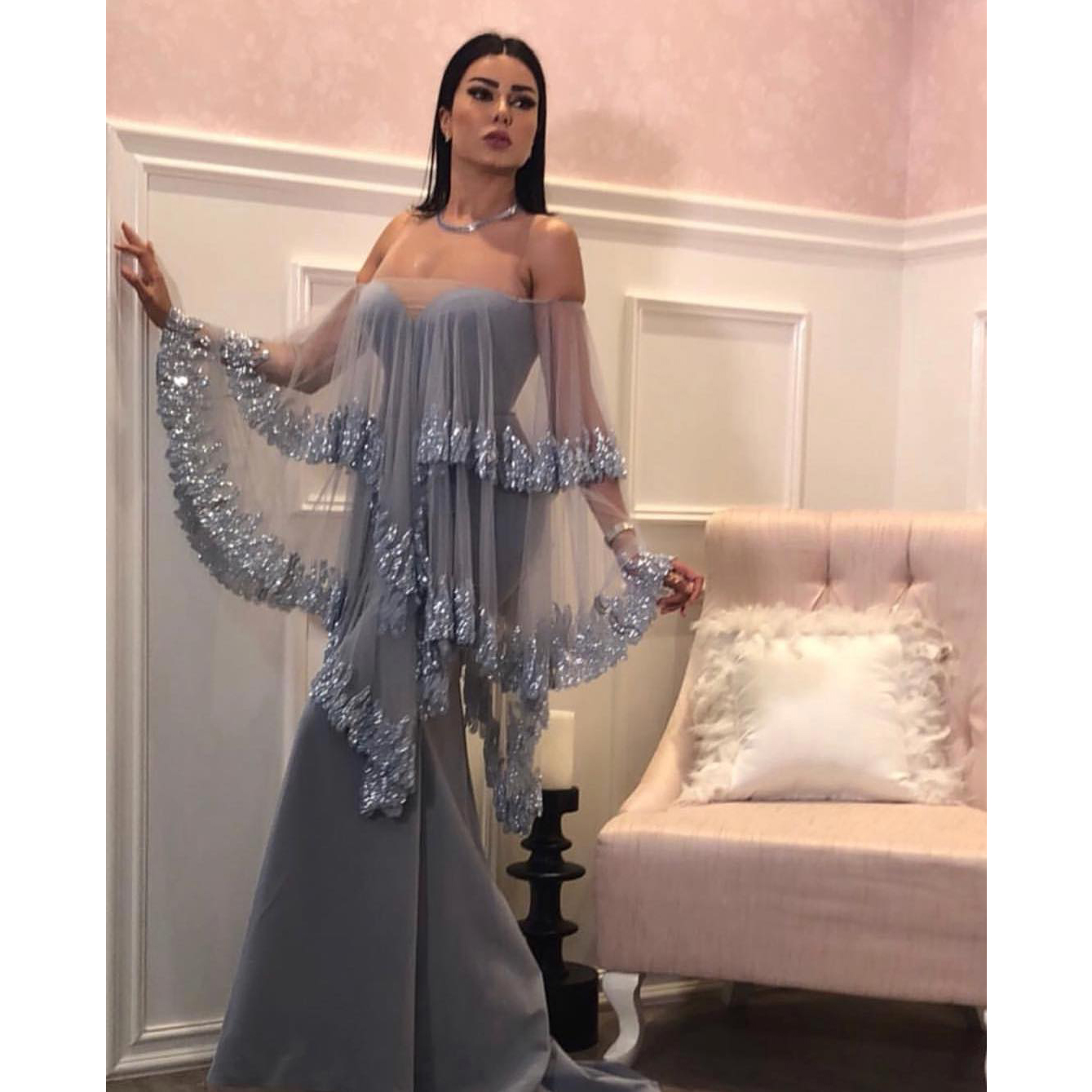 872874e1b8c Gorgeous Grey Mermaid Prom Dress Off Shoulder Tulle Sequined Tulle Cape  Evening Dresses Long Satin Formal Party Gown on Storenvy