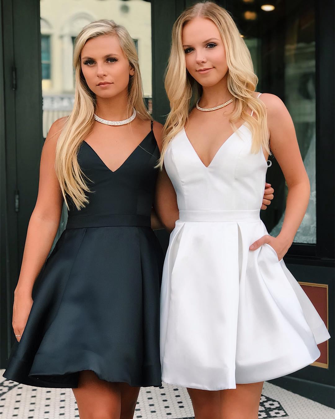 2f6a6b75aea Black Satin Homecoming Dress Spaghetti Straps Deep V-Neck White Cheap Short  Prom Dresses With