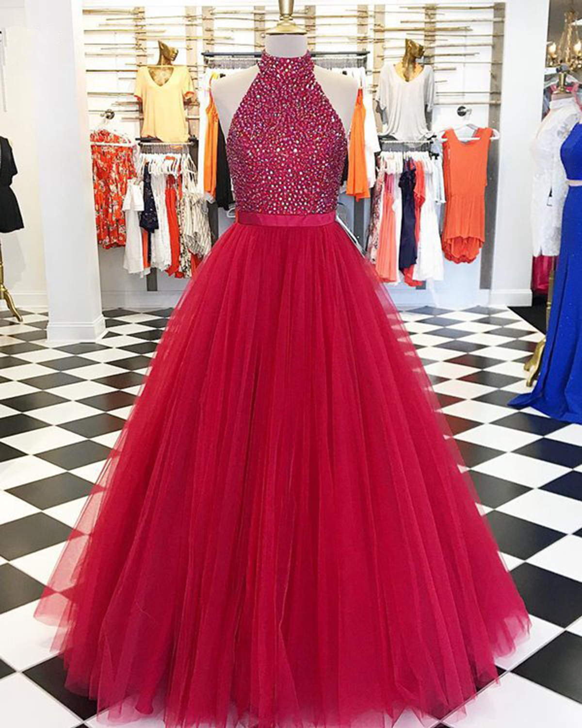 73882b29ddb8 Cheap Prom Dresses by SweetheartDress · 2019 Red Tulle Strapless ...