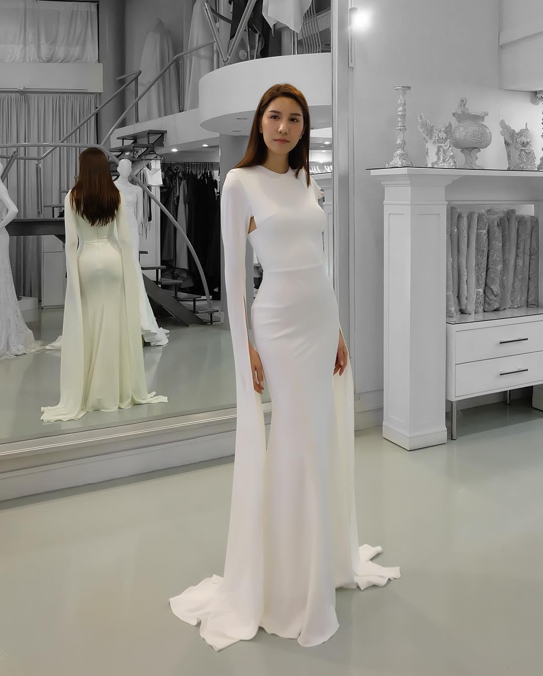 Designer Evening Dresses Sale On White: Elegant White Mermaid Prom Dress Floating Long Sleeves