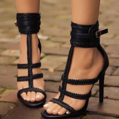 f3a097e3f8ad Browse more High Shoes. Black open toe stiletto heel sandals q-0109 - Thumbnail  1