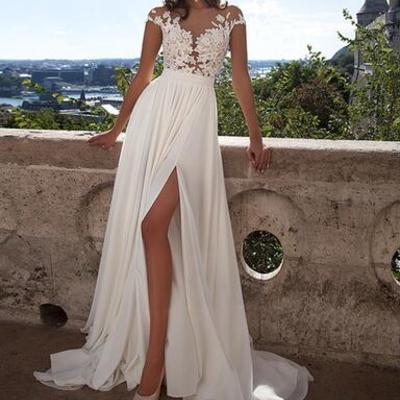 89eed00d4b Simple chiffon prom dresses, lace prom dress,long sexy prom dresses, prom  dresses