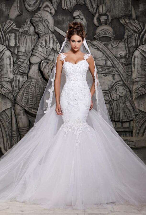 ac8da5aa96aa1 Beauty Backless Mermaid Tulle Wedding Dress,Lace Wedding Dress ...