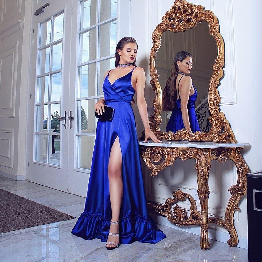 7d0e22cb40 Royal Blue Prom Gown Sexy Deep V Neck Spaghetti Straps Open Back High Split Formal  Evening