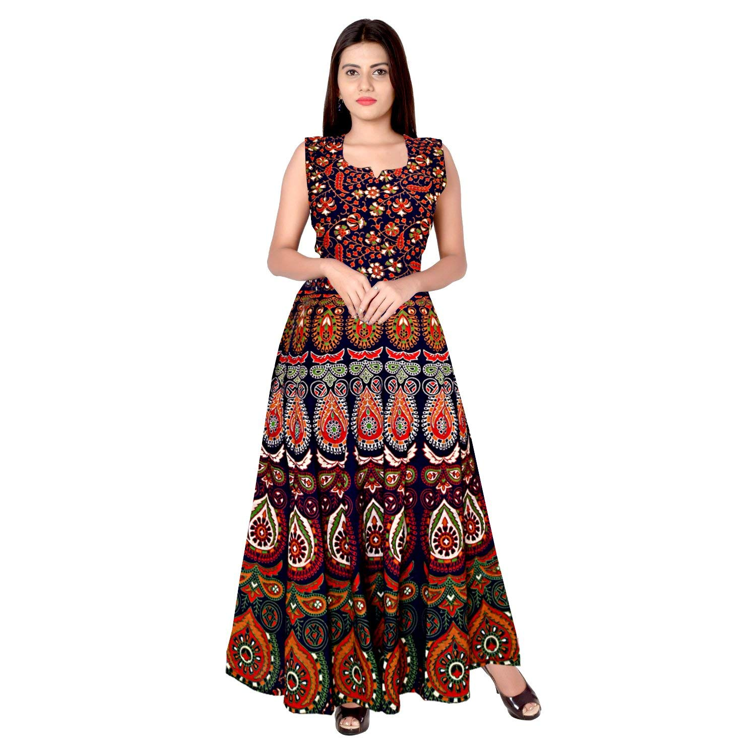 WHOLESALE LOT OF 5 PCS INDIAN WOMENS LONG DRESS ONE PIECE COTTON ... 11aad58bbb40