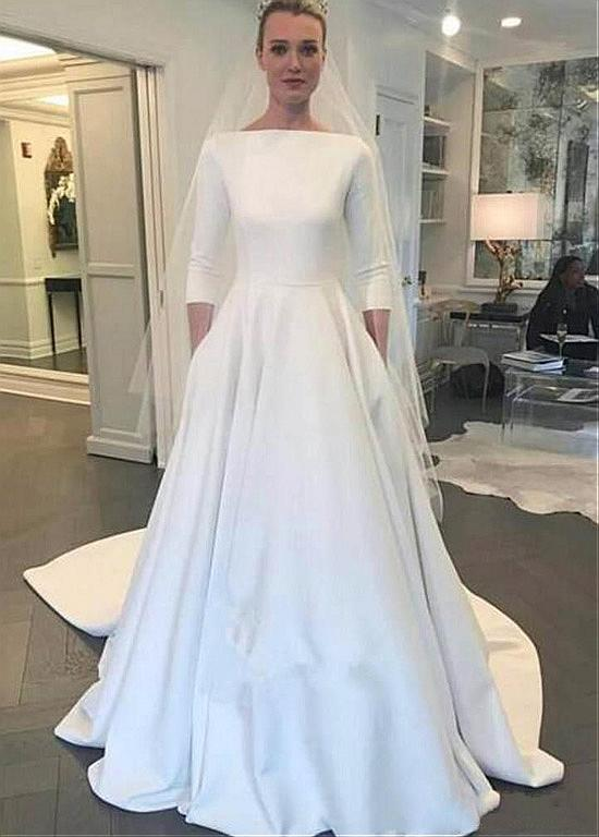 Wedding Dress With Pockets.Modest Four Way Spandex Bateau Neckline A Line Wedding Dress With Pockets From Eternally Yours Custom Bridals