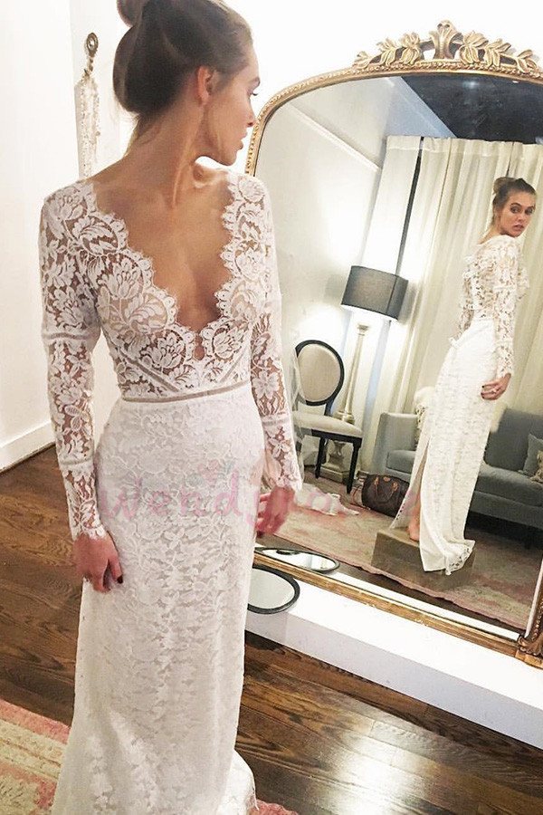 8c9c601684d2 Deep V Neck Long Sleeves Lace Long Bridal Dress · wendyhouse ...