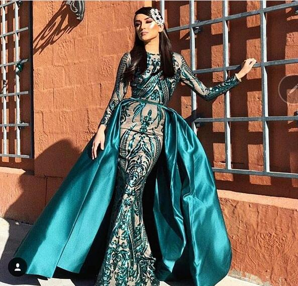 852de64392 Luxury Dark Green Mermaid Prom Dresses Sparkle Sequins Lace Long Sleeve  Evening Party Gowns with Detachable