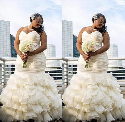 Afraic Mermaid Organza Plus Size Wedding Dresses Ruffles Sweetheart Bridal New 2019 Floor Length Black Girl Custom Made Bride Gown From Better4u