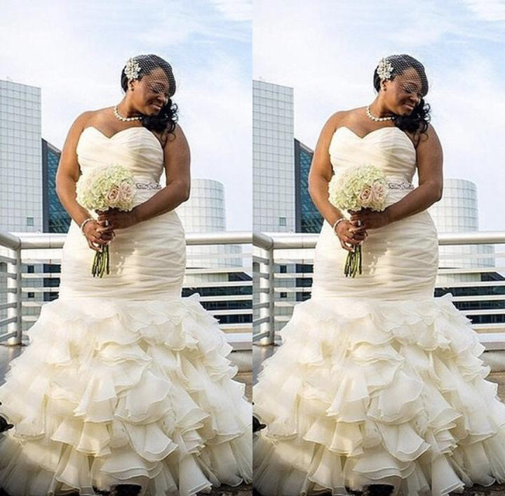 Afraic Mermaid Organza Plus Size Wedding Dresses Ruffles Sweetheart ...
