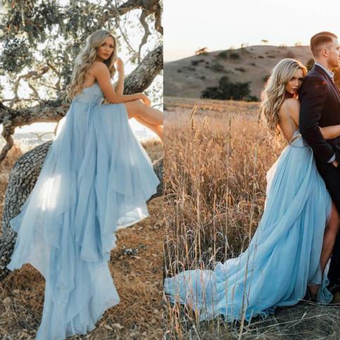 Thigh Split Light Sky Blue Rustic Wedding Dresses Beach
