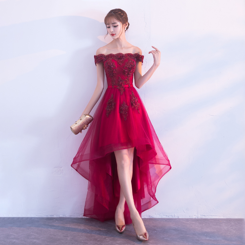 8ed008b6f4dc Burgundy lace tulle high low prom dress