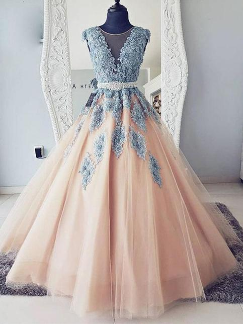 Cheap Body Shop >> Cap Sleeves Blue Lace Ball Gown Long Evening Prom Dresses, Cheap Sweet 16 Dresses, 18417 on Storenvy